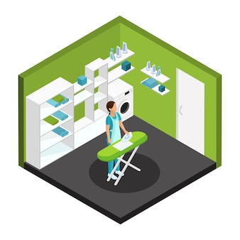 Isometric professional cleaning service template