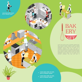 Isometric professional cooking in bakery composition with waiter chefs and assistants preparing different dishes