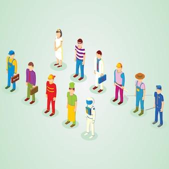 Isometric professions people