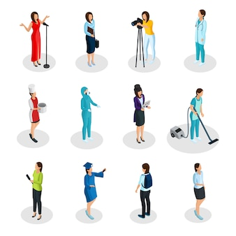 Isometric professions set with singer business woman photographer doctor cook scientist illusionist housemaid reporter graduate student cleaner isolated