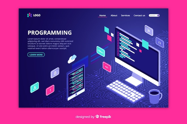 Isometric programming landing page template