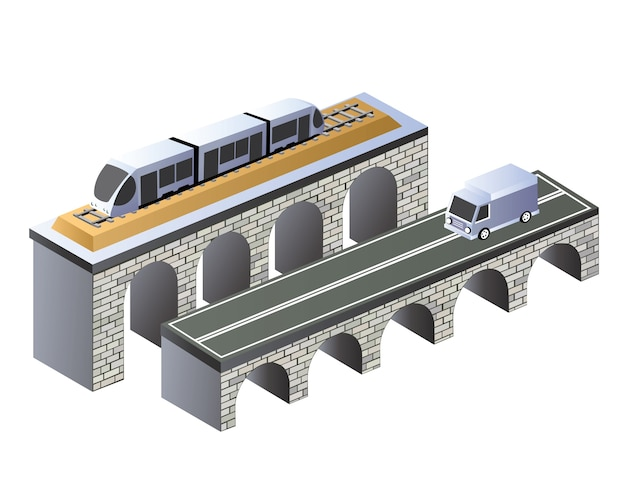 Isometric projection of the urban area of the road on the bridge