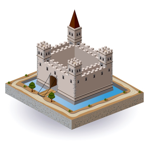 Isometric projection of the vector of a medieval castle with a moat and gate