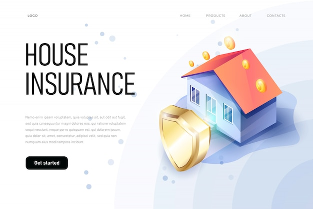 イラストの等尺性財産保険の概念。家の保護シールドは家の安全を象徴しています。住宅保険等尺性。家と保険の書類。
