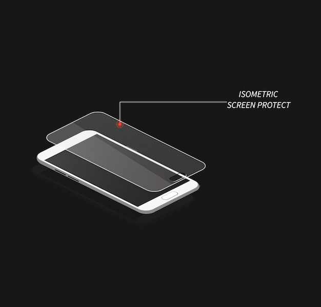 Isometric protect screen. isometria vector