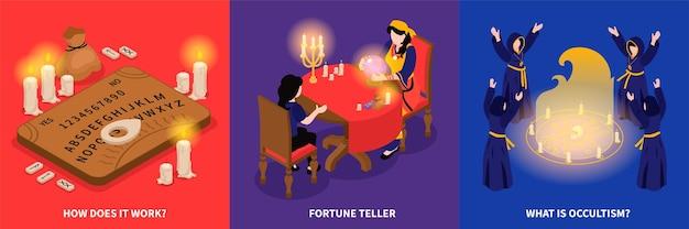 Concetto di illustrazione occulta di fortuna psichica isometrica con composizioni quadrate di procedure di rapping spirituale e visite dei clienti