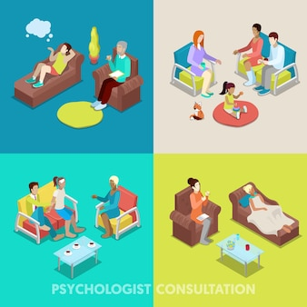 Isometric psychologist consultation. people on psychotherapy. vector 3d flat illustration