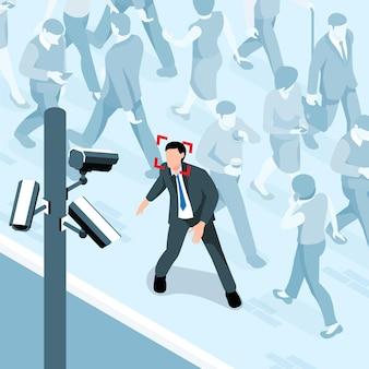 Composizione isometrica di sicurezza pubblica del paesaggio stradale con persone che camminano e persona con il volto riconosciuto
