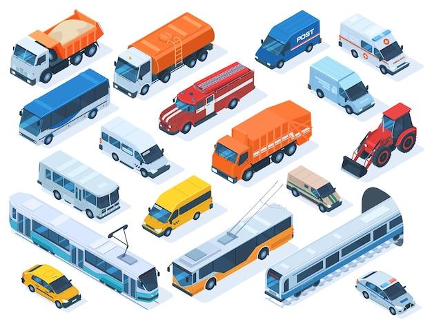 아이소메트릭 공공 서비스 교통, 택시, 구급차 및 경찰차. 도시 차량, 소방차, 공공 버스, 건설 트럭 벡터 일러스트 레이 션 세트. 도시 교통. 구급차 및 트럭 차량
