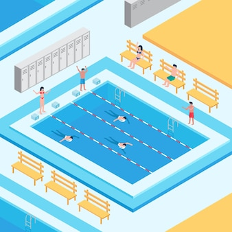 Isometric public swimming pool