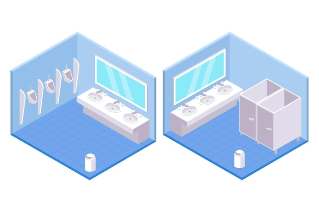 Isometric public toilets for male and female