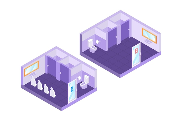 Isometric public toilets (male and female)
