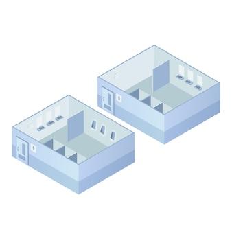 Isometric public toilets