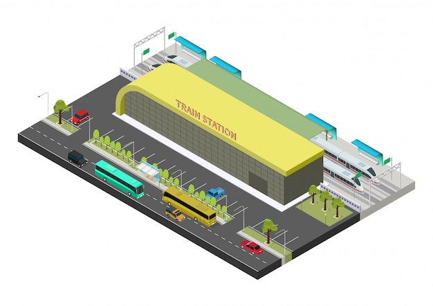 Isometric public train station building