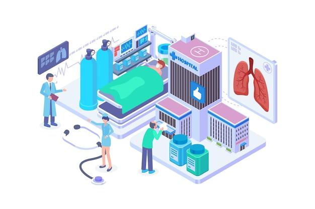 Isometric pulmonary diseases hospital concept
