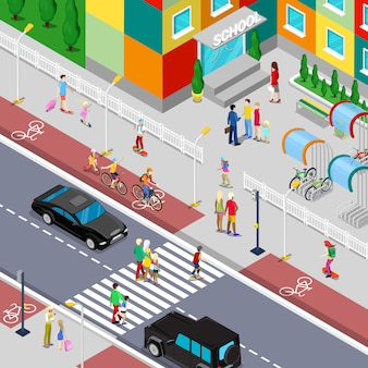 Isometric pupils going to school building with parents. flat illustration