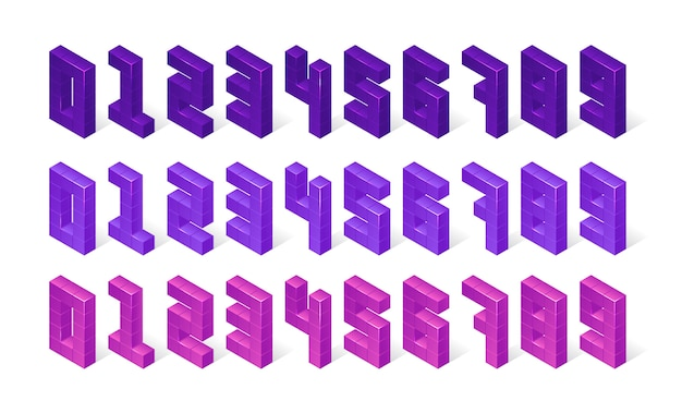 Isometric purple numbers made of 3d cubes