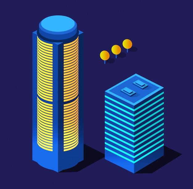等尺性紫超風景未来都市ツリーバイオレットネオンスタイルのコンセプト