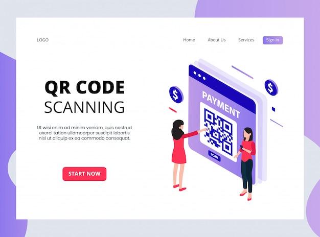 Isometric qr code scanning landing page