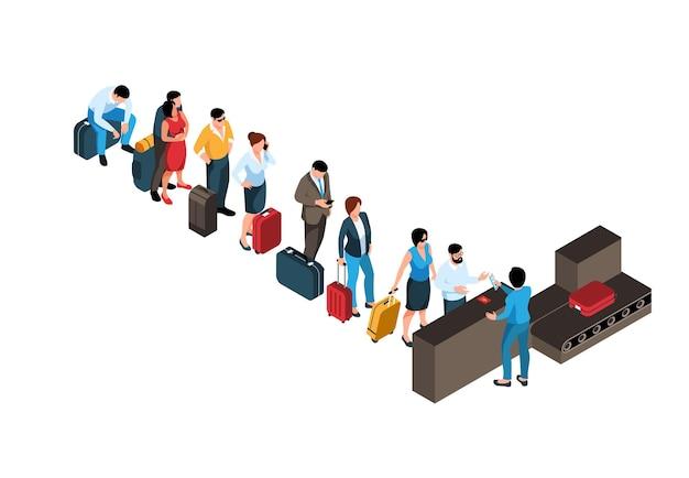Composizione isometrica della coda con fila di passeggeri davanti al banco del check in