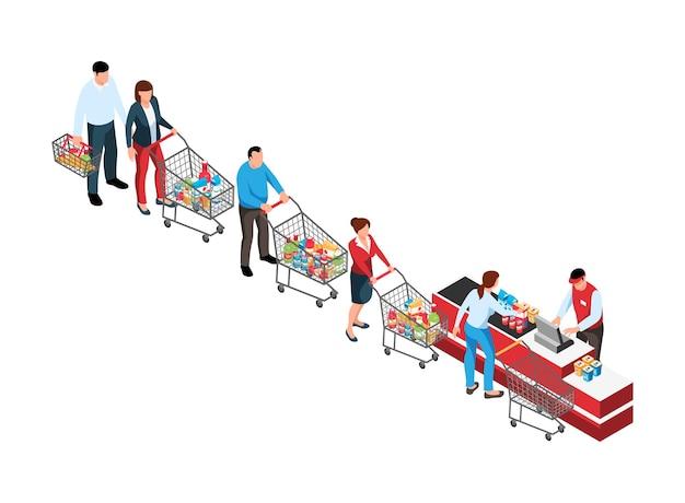 スーパーマーケットの訪問者のトロリーカートとチェックアウトキャッシャーを備えた等尺性のキュー構成