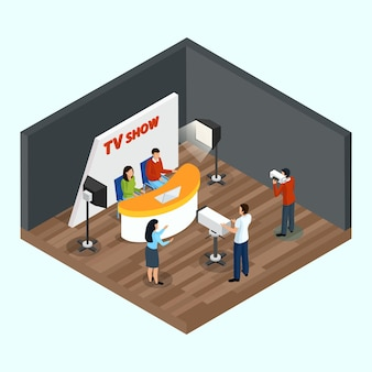 Isometric quiz tv show indoor composition with human characters of staff and talking show hosts