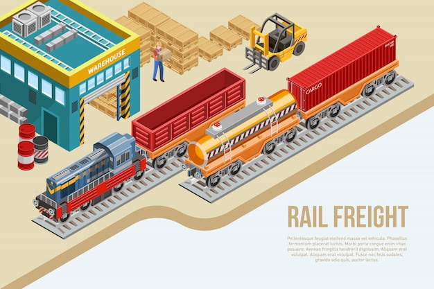 Isometric railway freight delivery