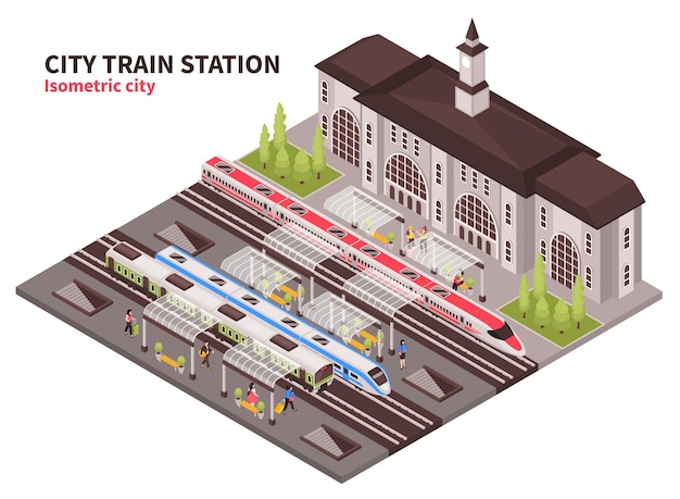 Isometric railway station composition with historical building of terminal illustration