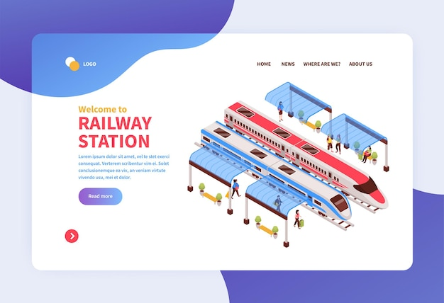 Isometric railway station concept landing page