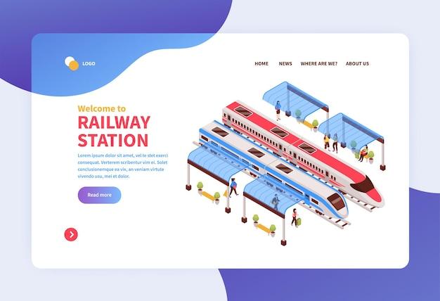 Pagina di destinazione del concetto di stazione ferroviaria isometrica