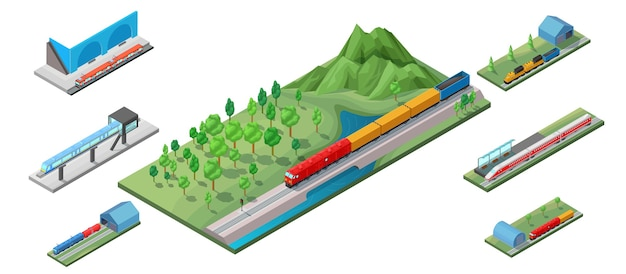Isometric railway transport illustration