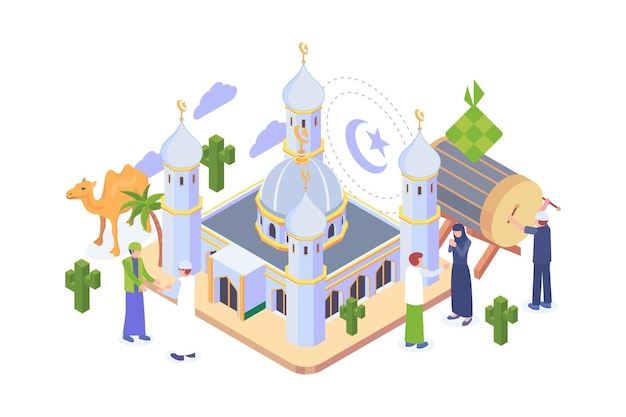 Isometric ramadan mubarak concept