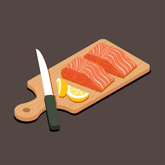 Isometric raw salmon fish and slided lemon with on wooden cutting board with knife