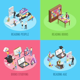 Isometric reading people banner