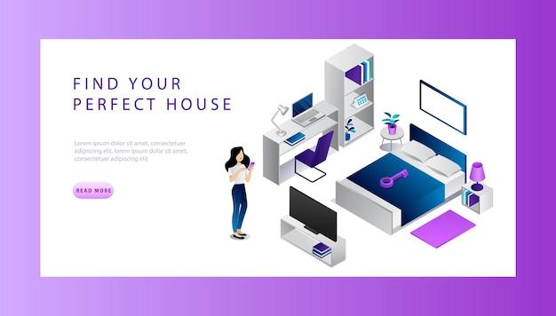 Изометрические недвижимость продажи и покупки концепции