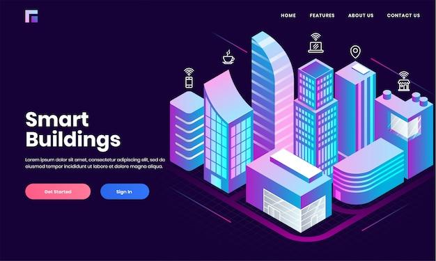 스마트 빌딩 개념 기반의 랜딩 페이지 디자인을위한 소셜 미디어 서비스 앱의 인터넷 네트워크, 인터넷을 통해 주거 및 기술 장치를 보여주는 아이소 메트릭 부동산 건물 영역.
