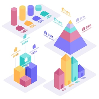Шаблон инфографики изометрической недвижимости