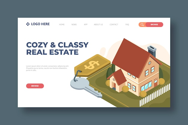 Isometric real estate landing page template