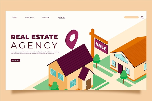 Isometric real estate landing page
