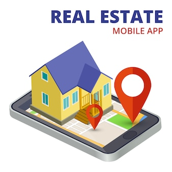 Isometric real estate mobile app with phone and 3d house