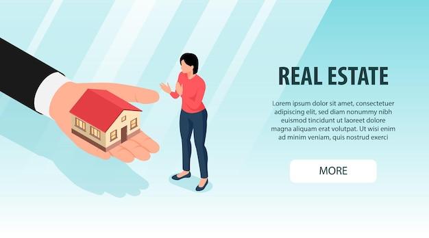 Изометрическая недвижимость с большим количеством текста кнопки и женским персонажем с человеческой рукой и домом