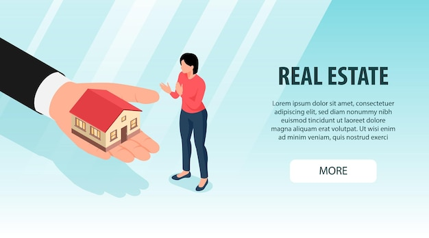 Isometric real estate with more button text and female character with human hand and house