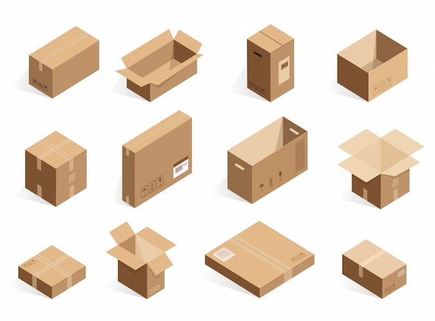 Isometric realistic cardboard delivery boxes. opened, closed logistic box  on the white background.