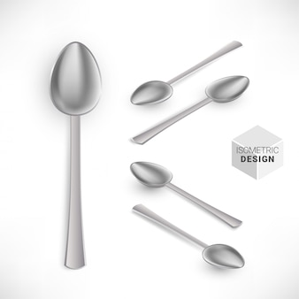 Isometric realistic silver spoon set isolated on white