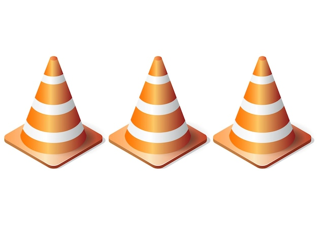 Isometric realistic traffic cones set isolated on white background
