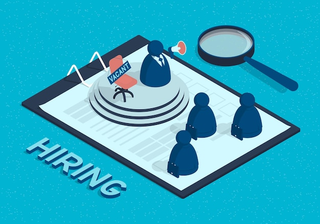Isometric recruitment concept of businessman with megaphone