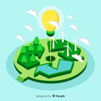 Isometric recycle sign and lightbulb