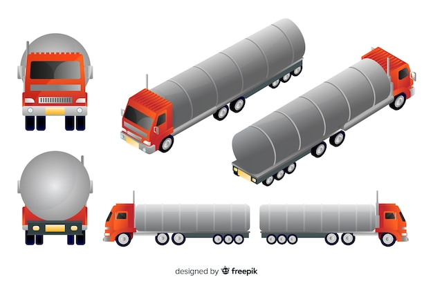 Isometric red truck in different views