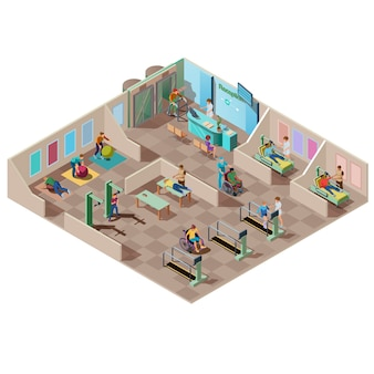 Isometric rehabilitation center for patients with disabilities. physical therapists help handicapped do exercise for the treatment of injury, fitness therapy and massage. medical hospital interior.