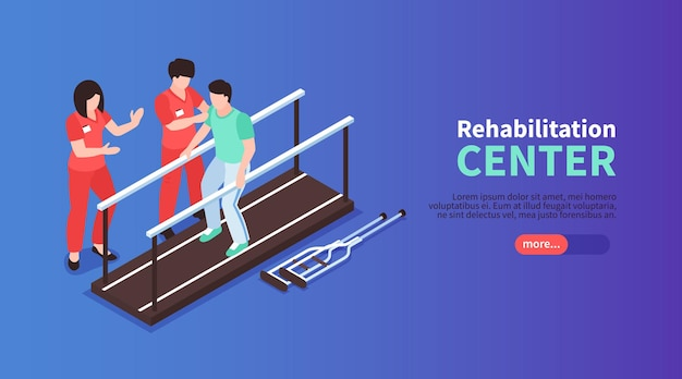 Isometric rehabilitation physiotherapy horizontal web banner with editable text slider button and human characters of medical assistants